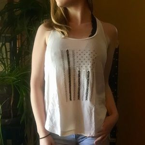 AEO EMBROIDERED TANK TOP // AMERICAN FLAG